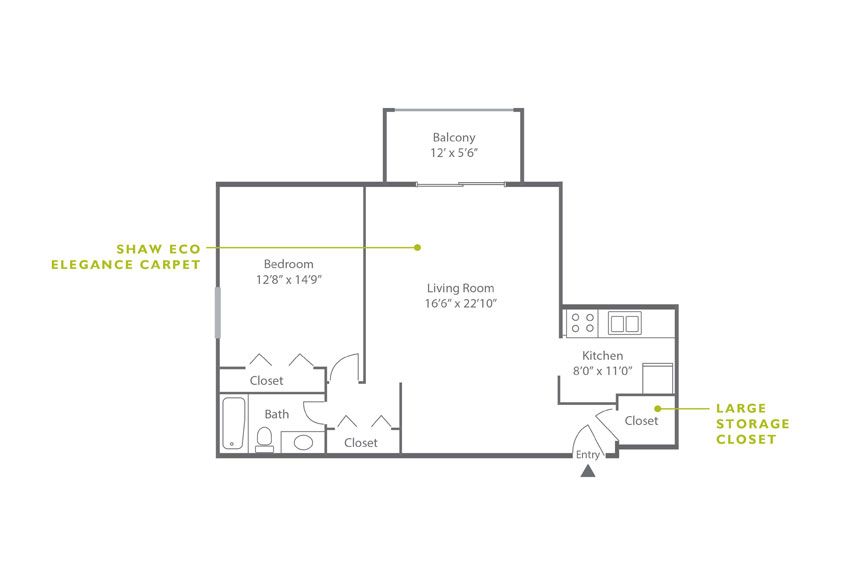 Whitney Floor Plan - 1 Bedroom A2
