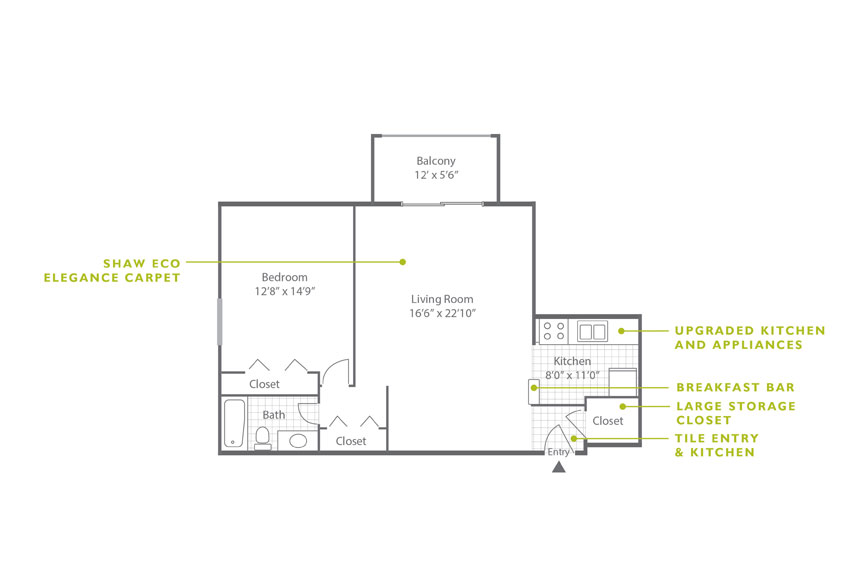 Whitney Floor Plan - 1 Bedroom A2 U