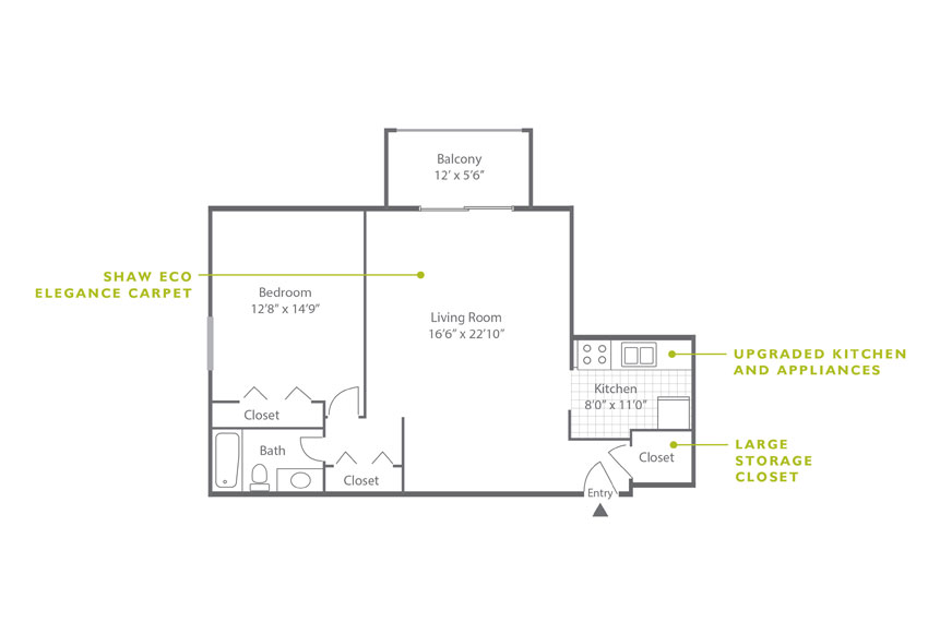Whitney Floor Plan - 1 Bedroom A2 UK