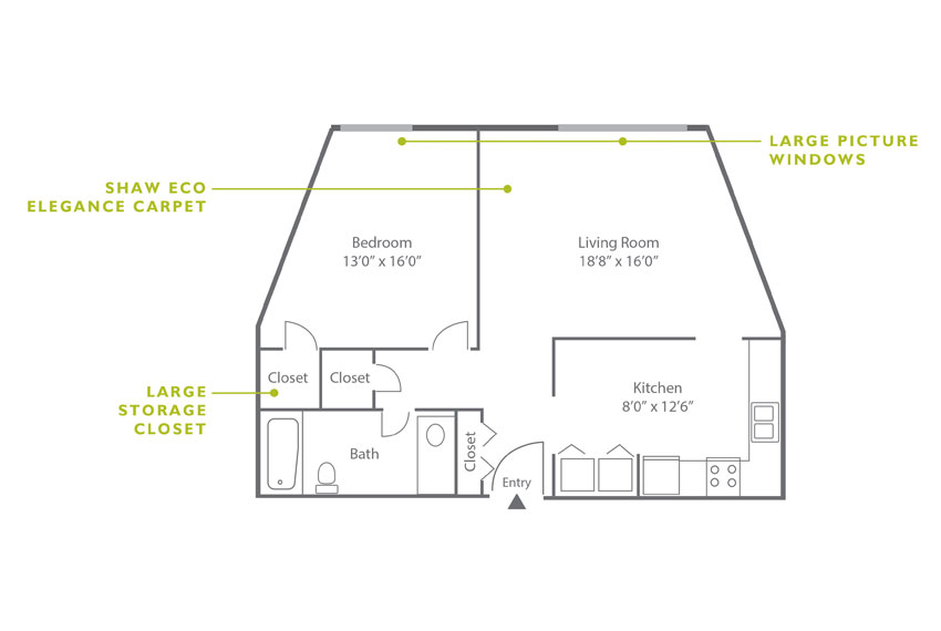 Whitney Floor Plan - 1 Bedroom A2.1