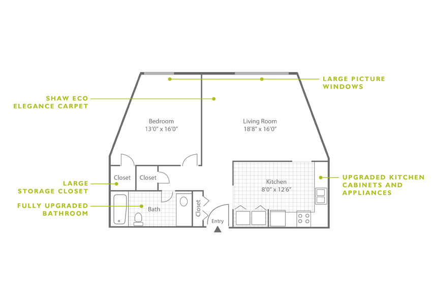 Whitney Floor Plan - 1 Bedroom A2.1 U