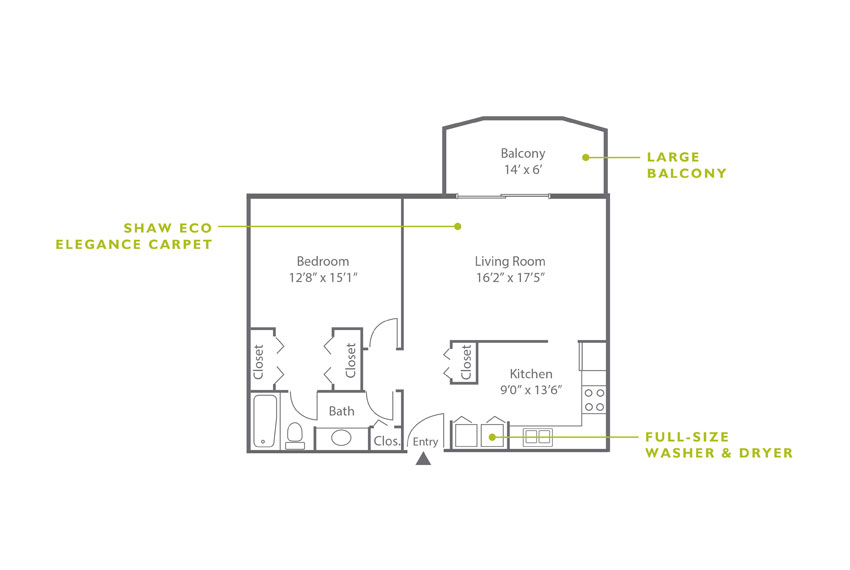 Whitney Floor Plan - 1 Bedroom A4