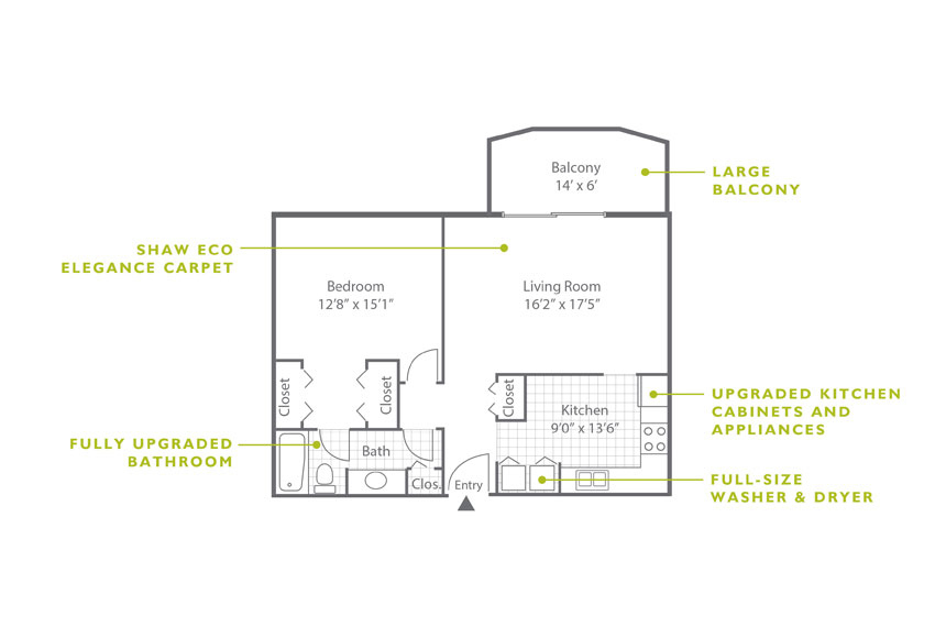 Whitney Floor Plan - 1 Bedroom A4 U