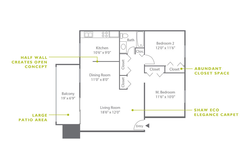 Whitney Floor Plan - 2 Bedroom B1