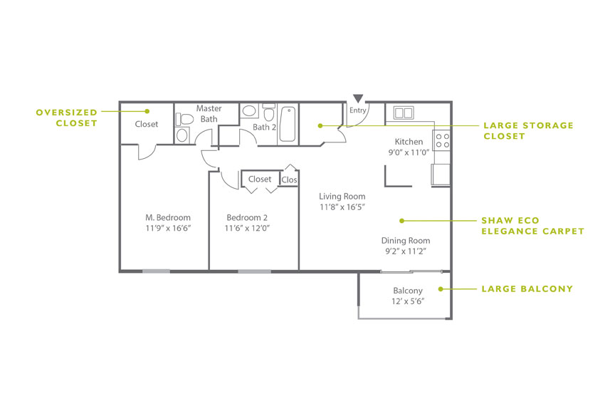 Whitney Floor Plan - 2 Bedroom B2