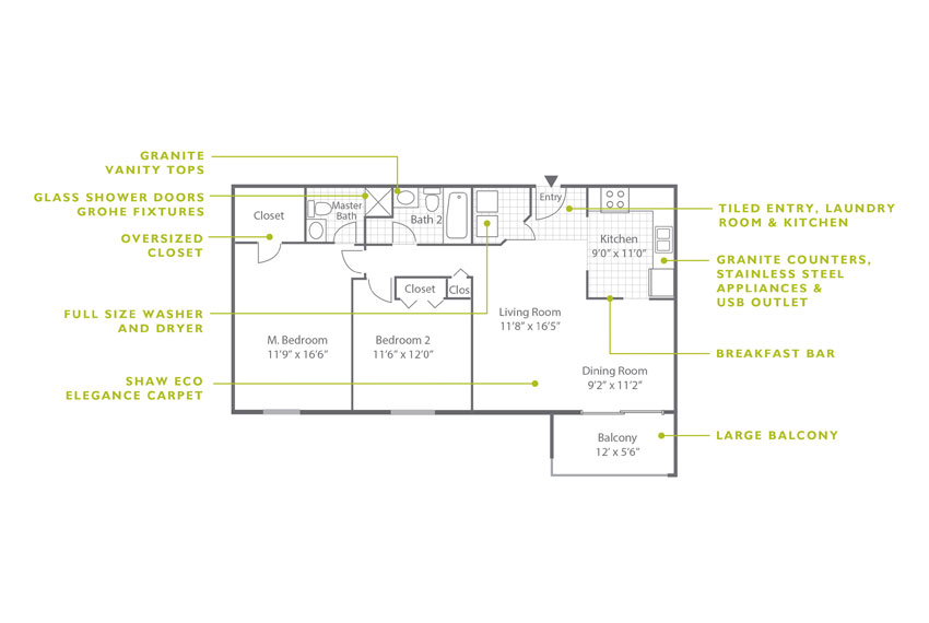 Whitney Floor Plan - 2 Bedroom B2 ULX