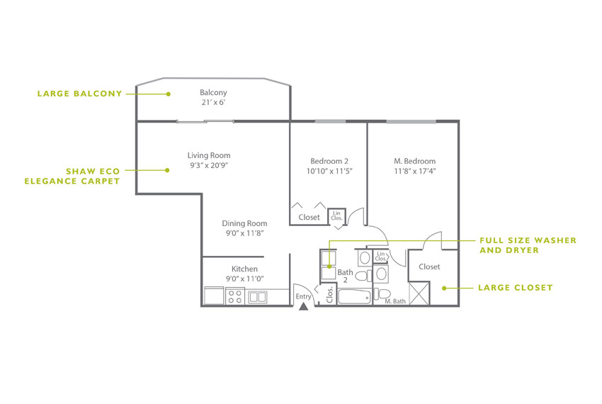 Whitney Floor Plan - 2 Bedroom B3