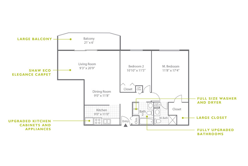 Whitney Floor Plan - 2 Bedroom B3 U
