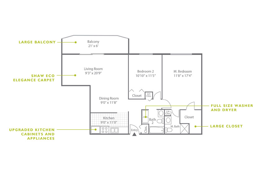 Whitney Floor Plan - 2 Bedroom B3 UK