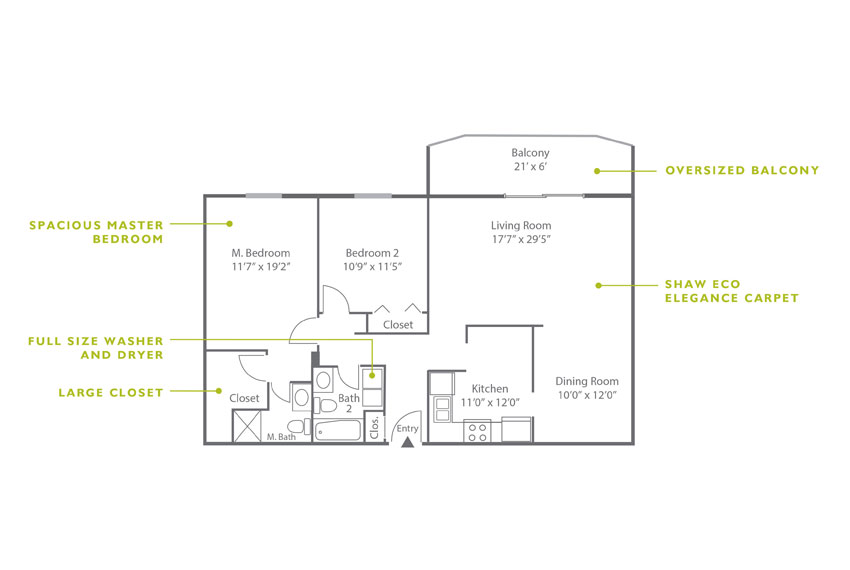 Whitney Floor Plan - 2 Bedroom B4