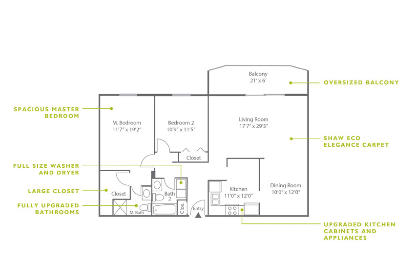 Whitney Floor Plan - 2 Bedroom B4 U