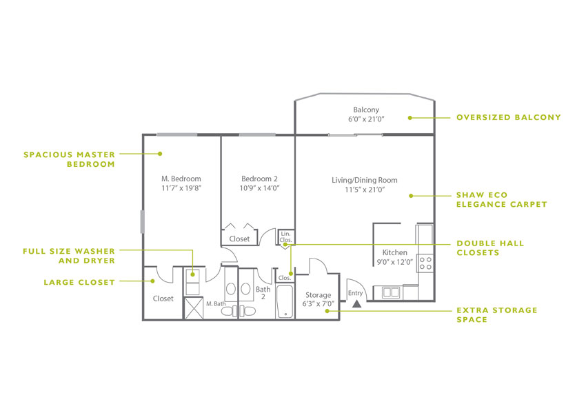 Whitney Floor Plan - 2 Bedroom B5