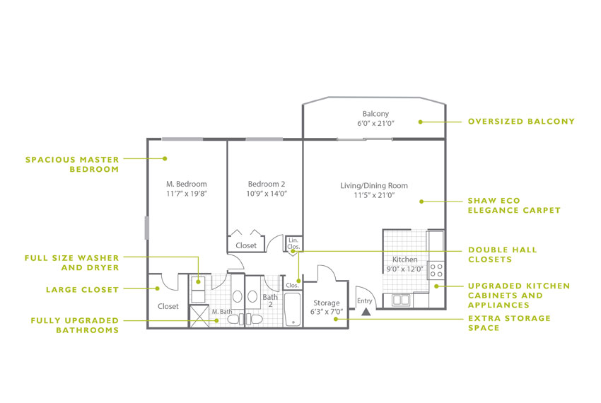 Whitney Floor Plan - 2 Bedroom B5 U