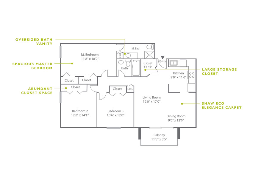 Whitney Floor Plan - 3 Bedroom C2