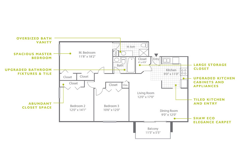 Whitney Floor Plan - 3 Bedroom C2 U