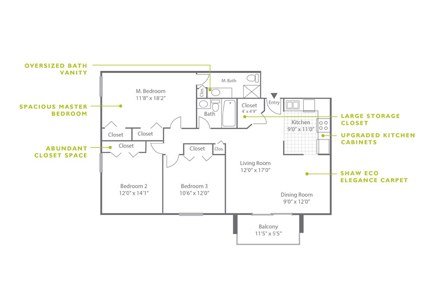 Whitney Floor Plan - 3 Bedroom C2 UK