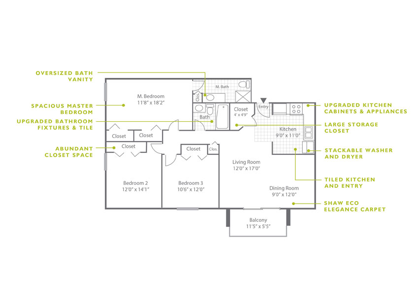 Whitney Floor Plan - 3 Bedroom C2 UWD