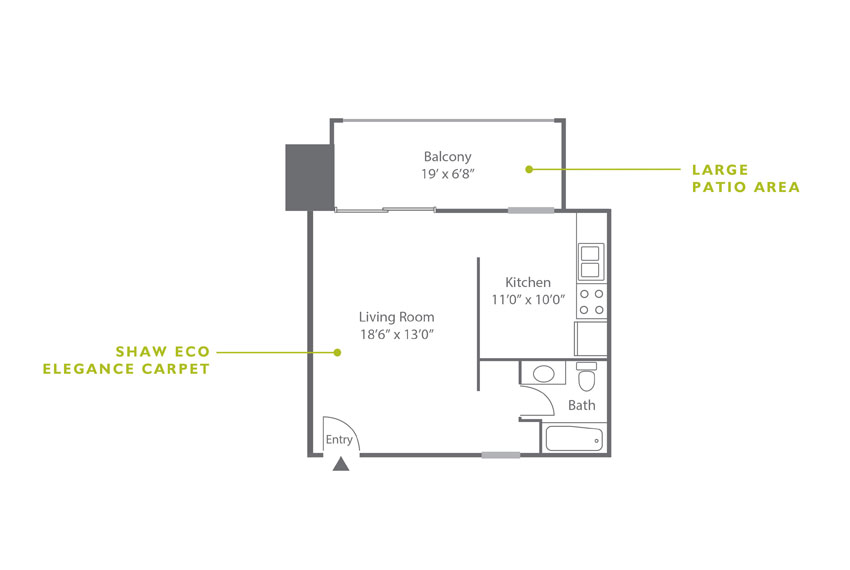 Whitney Floor Plan - Studio E1