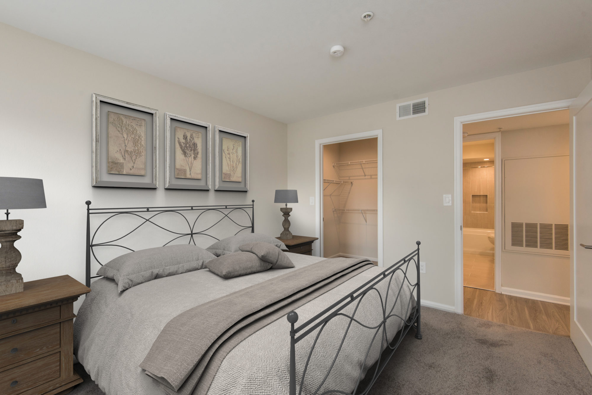 large bedroom and closet space in an apartment