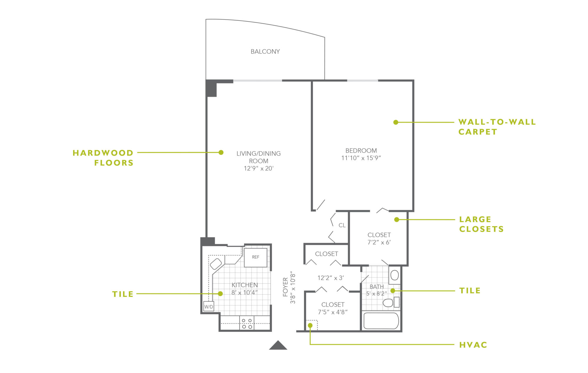 Floor plan of a 1-bedroom rental in Jenkintown at The Plaza Apartments with hardwood floors and large closets
