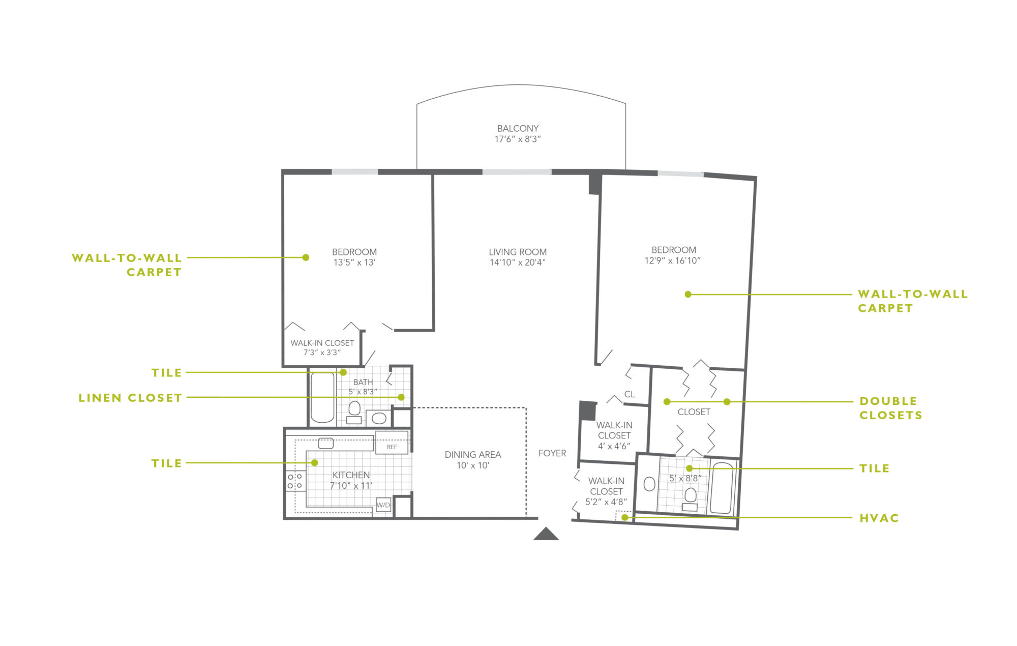Floor plan of a 1,249 sq. ft. 2-bedroom apartment for rent in Jenkintown, PA