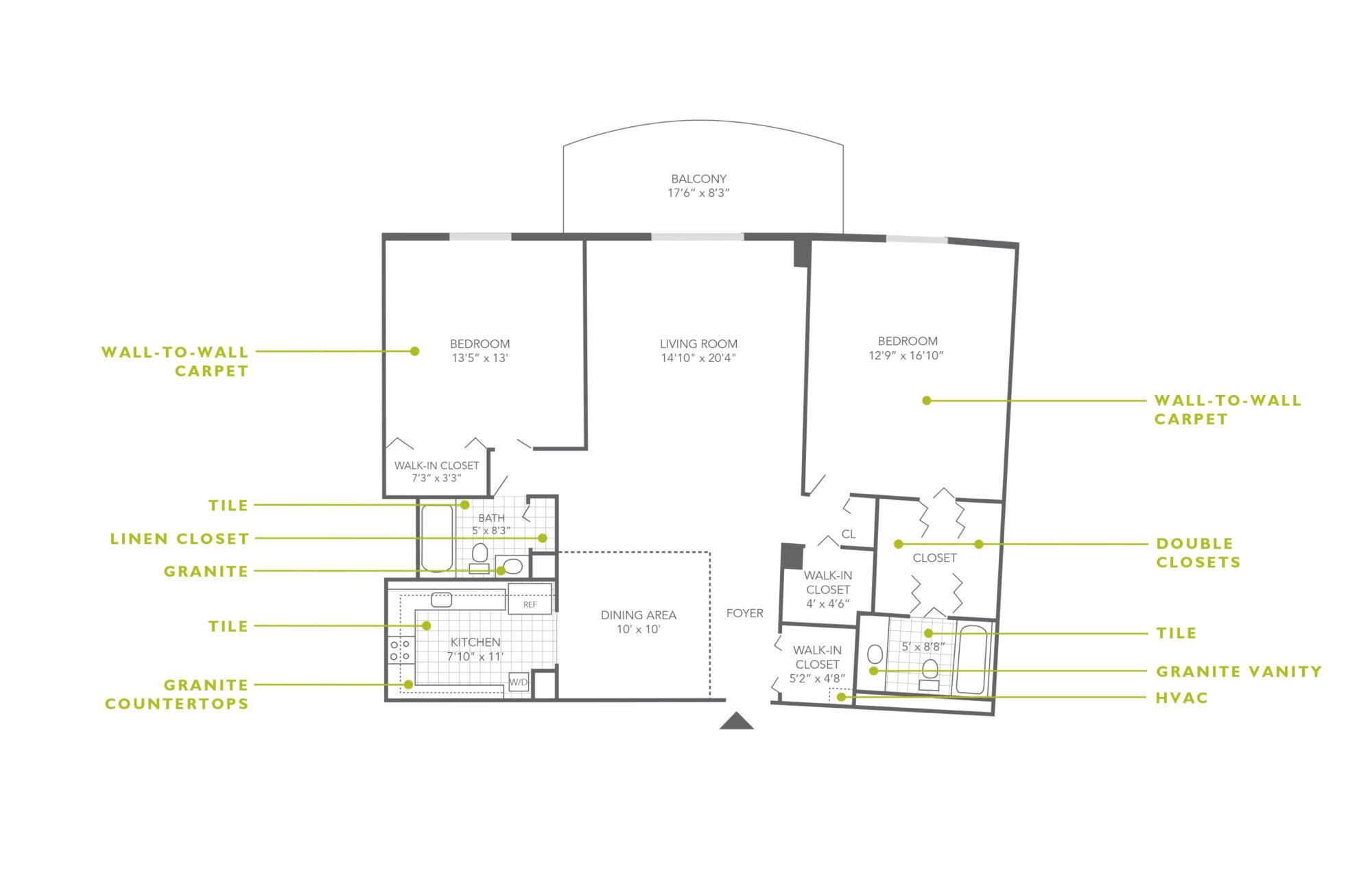 Plaza Apartments 2 Bedroom Upgrade
