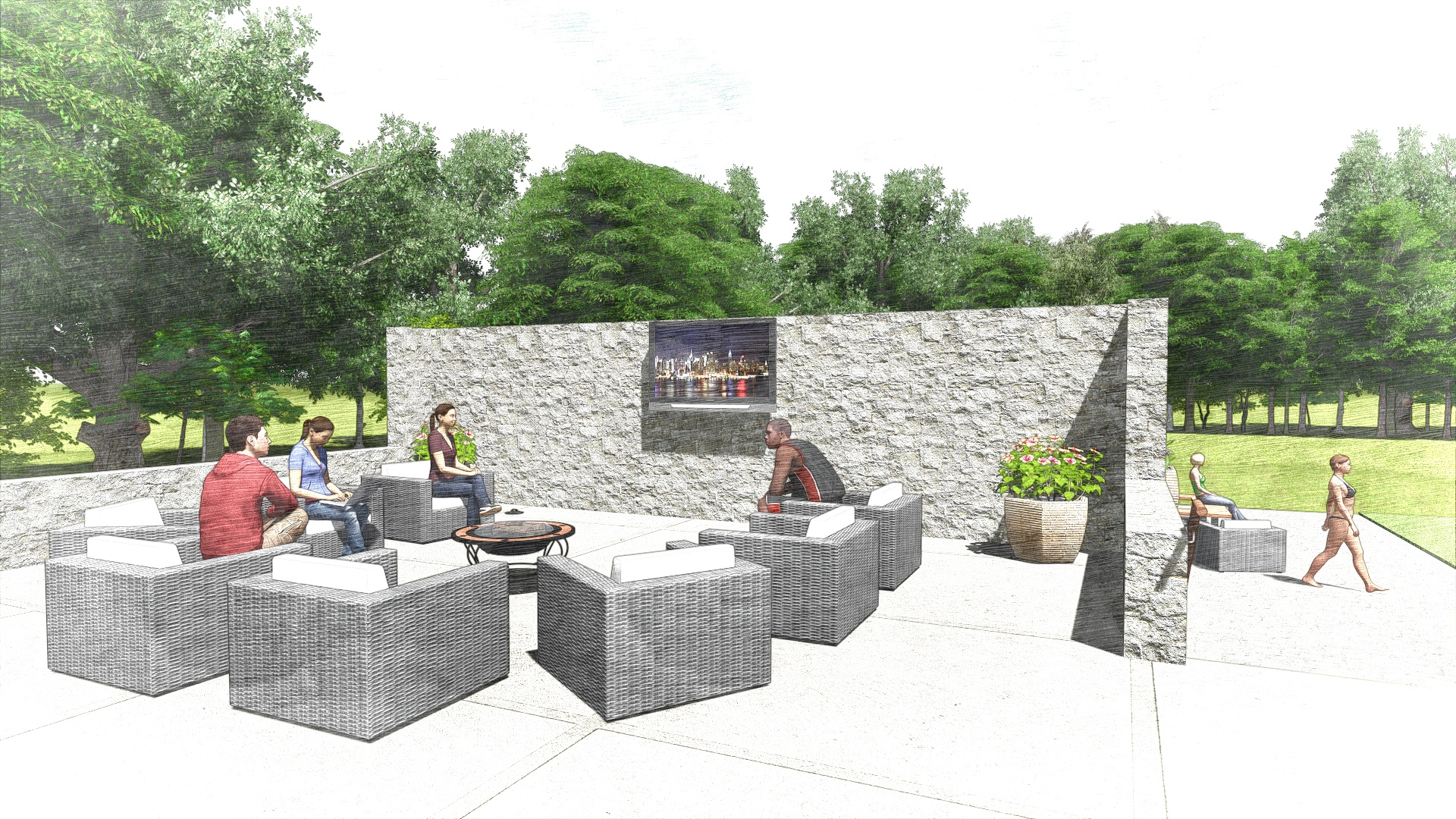 The Edge at Yardley_Outdoor Clubhouse_Perspective 2