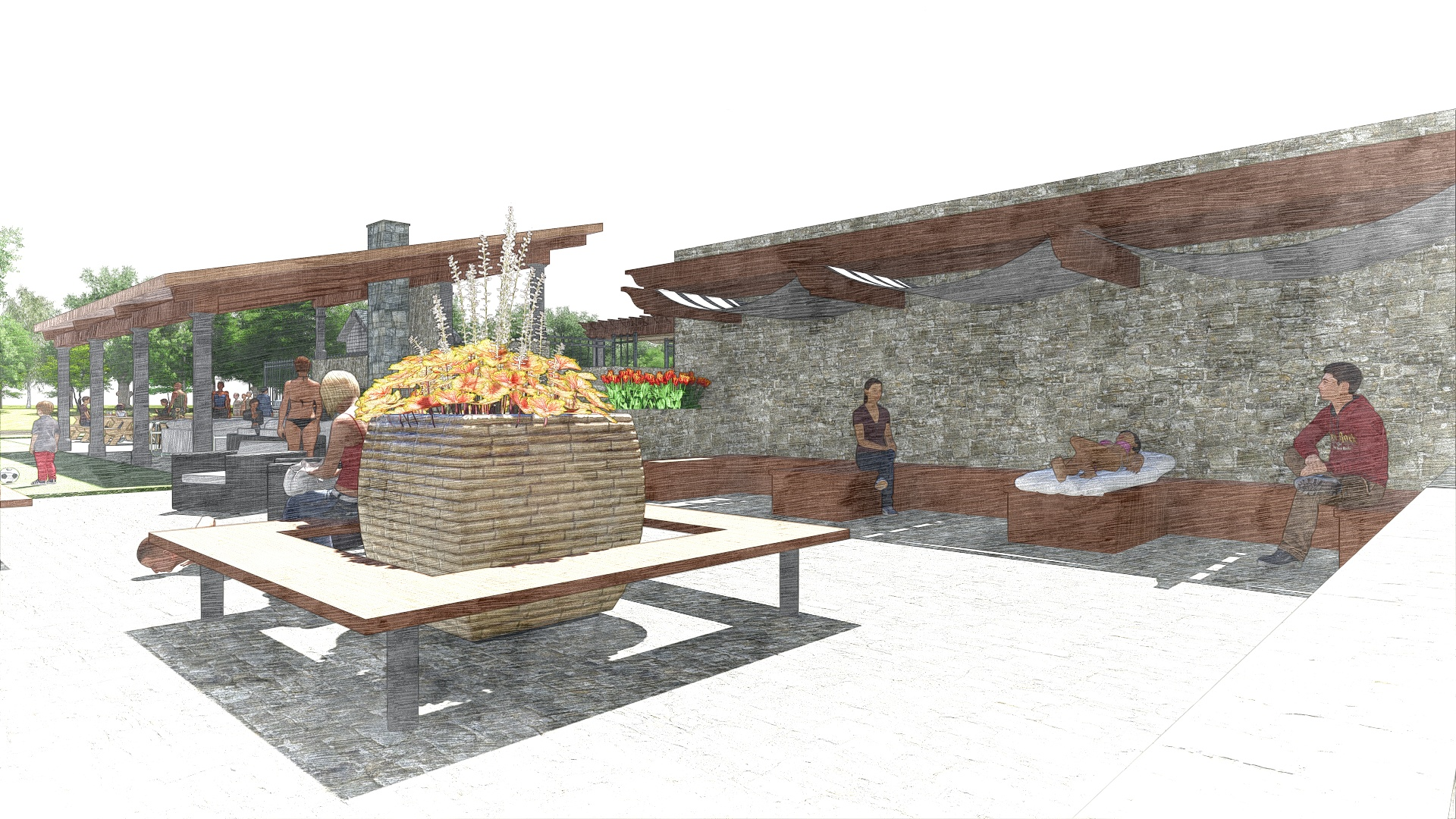 The Edge at Yardley_Outdoor Clubhouse_Perspective 3