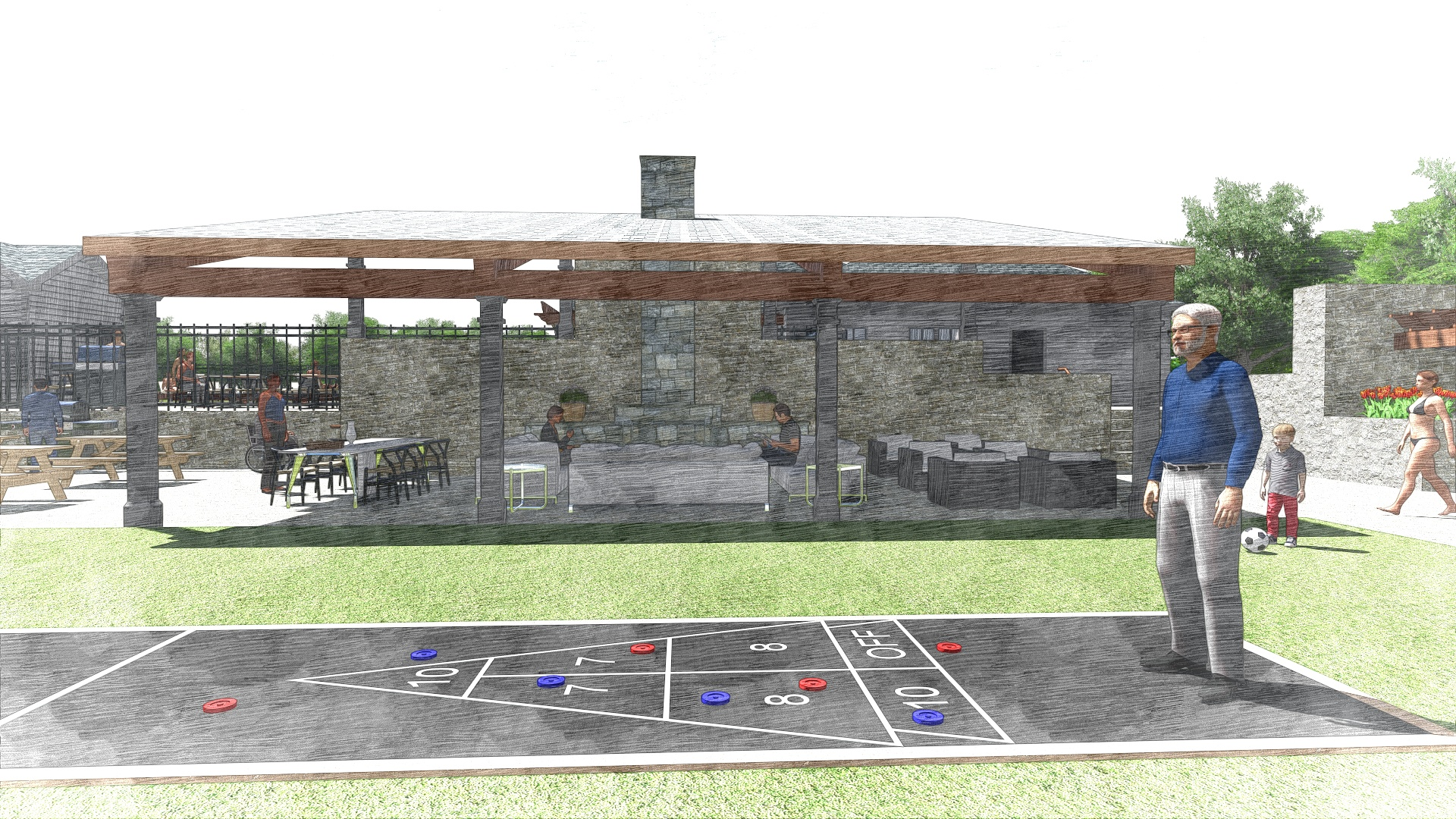 The Edge at Yardley_Outdoor Clubhouse_Perspective 4