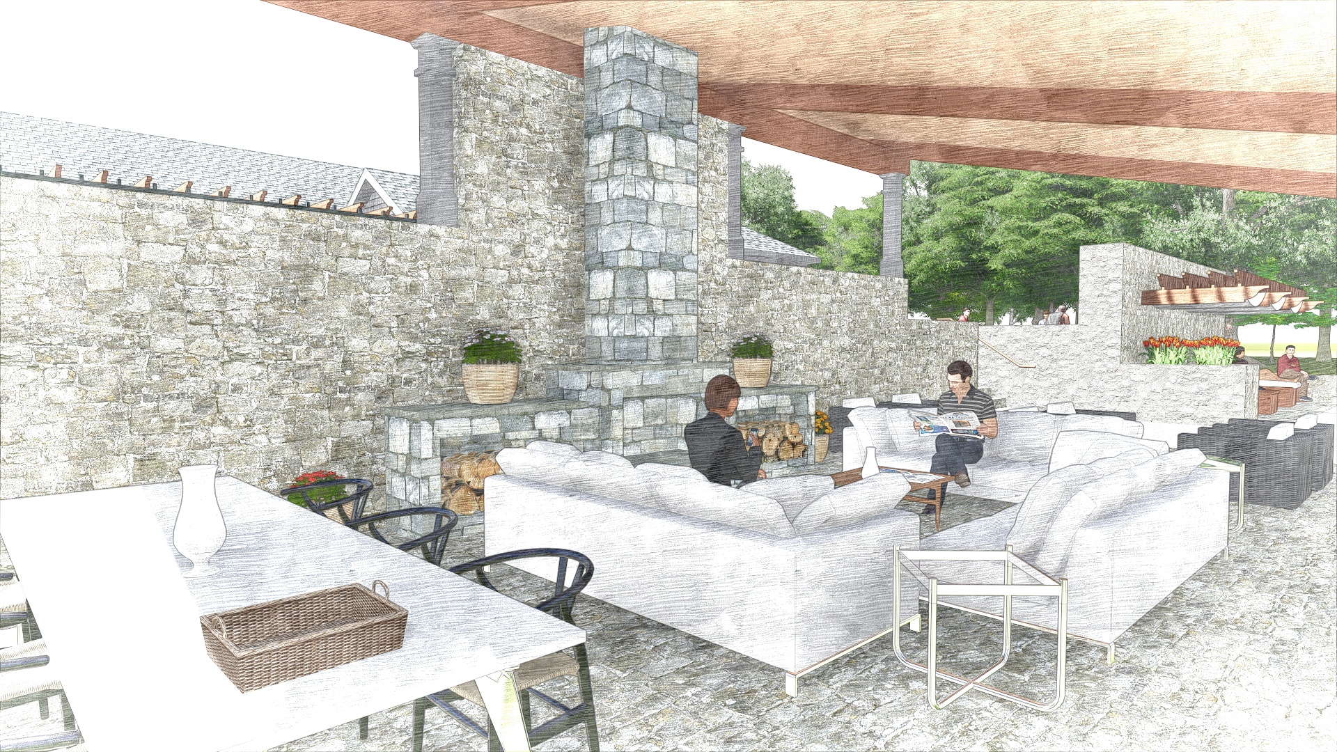 The Edge at Yardley_Outdoor Clubhouse_Perspective 5