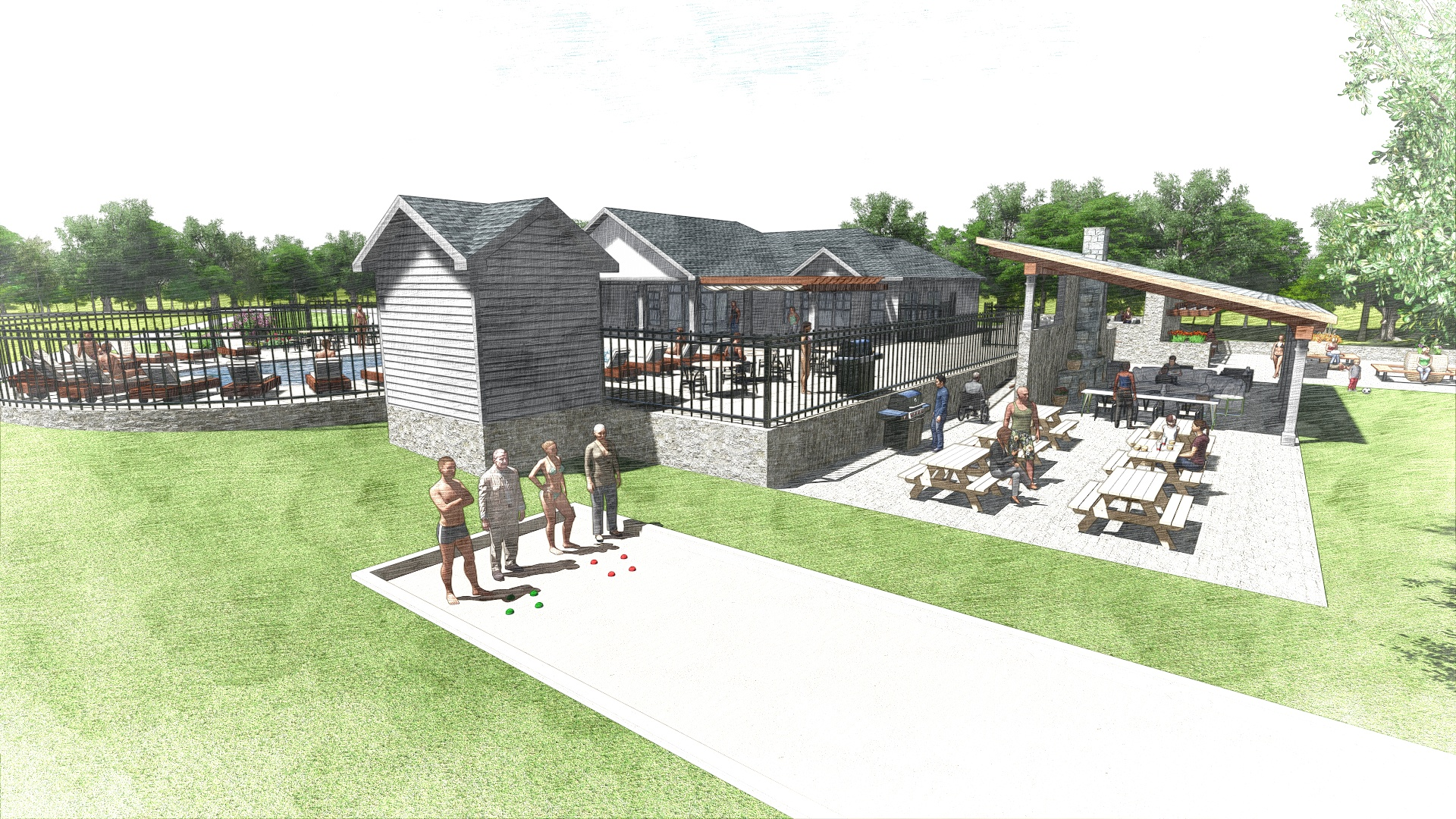 The Edge at Yardley_Outdoor Clubhouse_Perspective 6