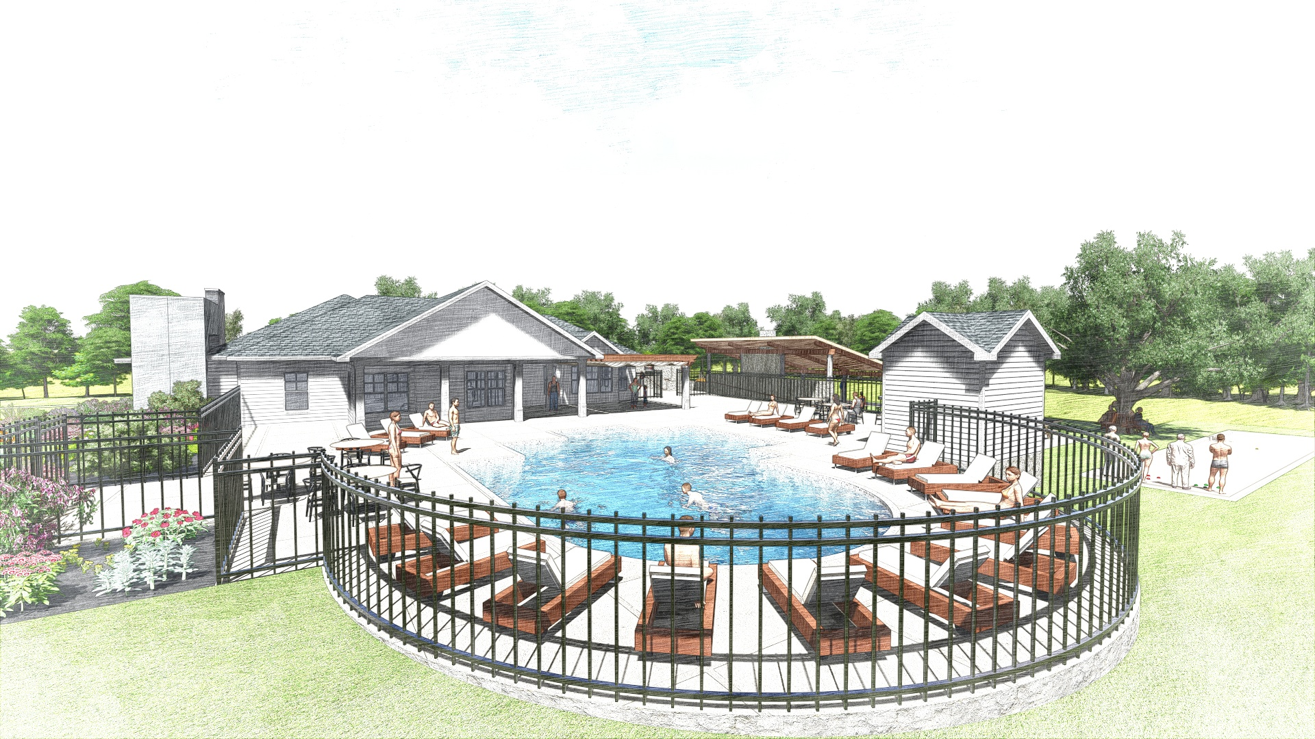 The Edge at Yardley_Outdoor Clubhouse_Perspective 7