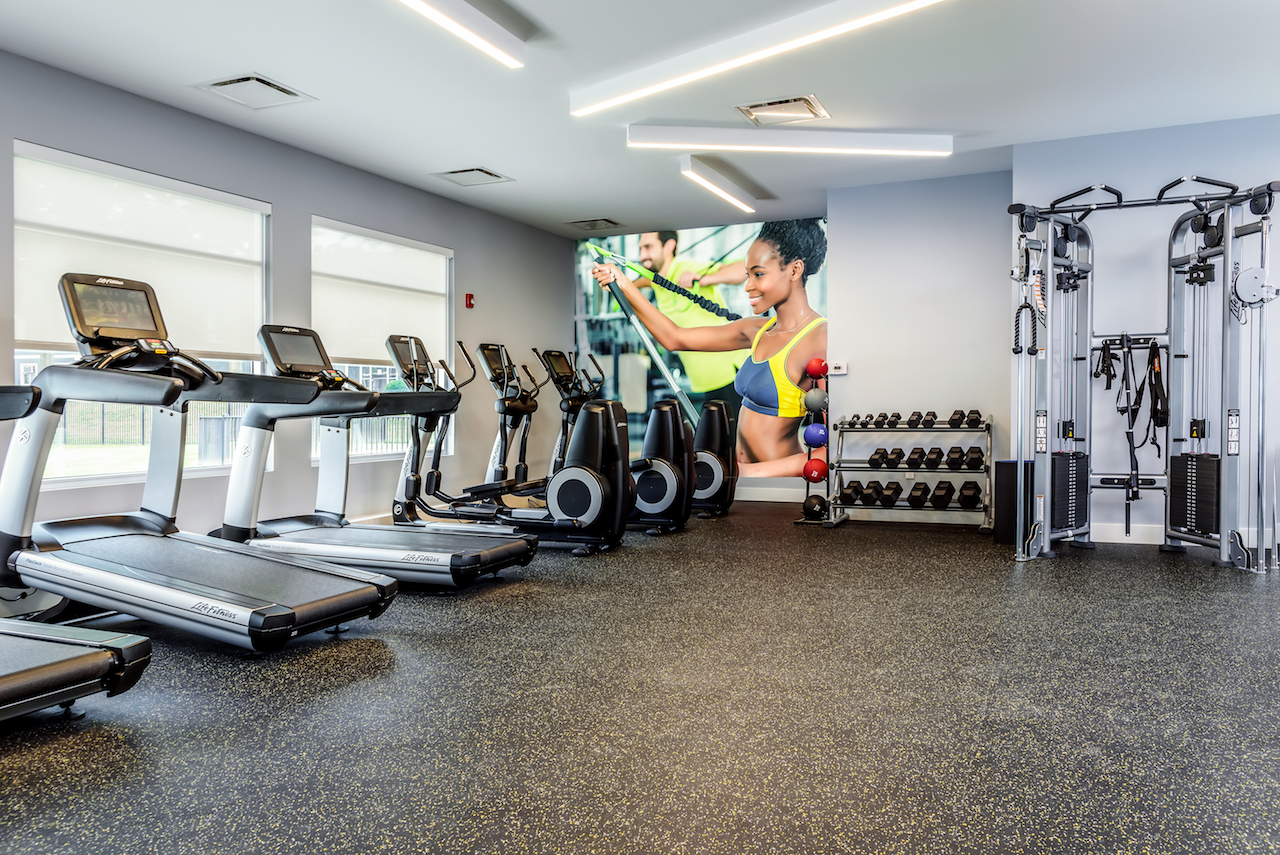 large fitness center at apartments in Newark DE