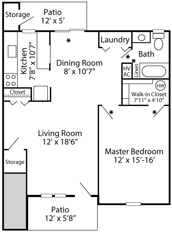 Floor plan of a 1-bedroom first floor apartment at Exeter Village in Reading, PA