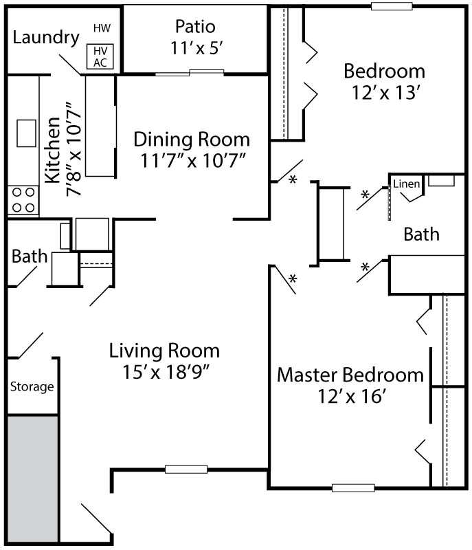 Brighton floor plan at Exeter Village with 2-bedrooms, 1.5-baths and 1,100 sq. ft.