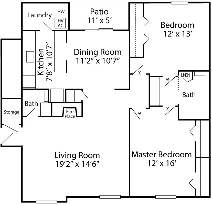 Brighton Deluxe floor plan with 2-bedrooms, 1.5-baths at Exeter Village in Reading, PA