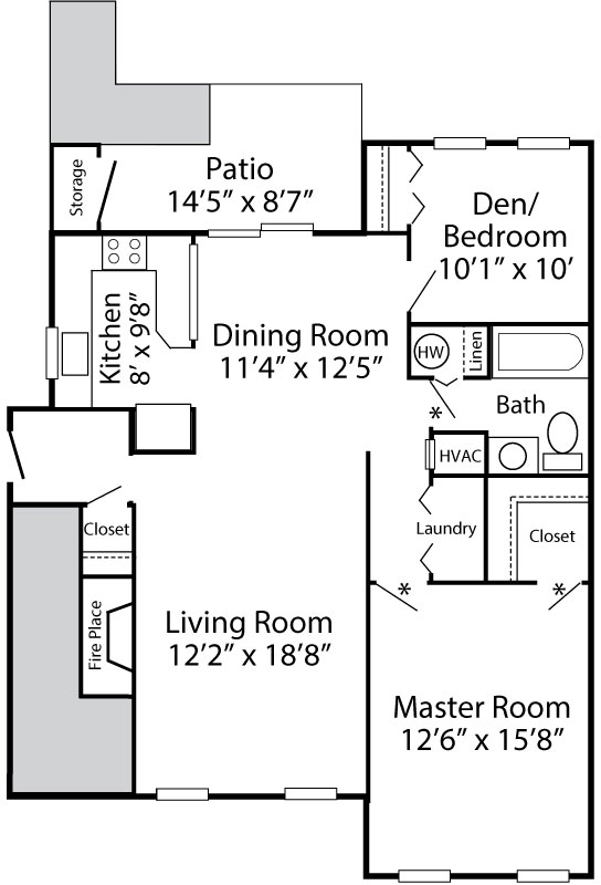 Dunmore 1-bedroom with den floor plan at Exeter Village in Reading, PA