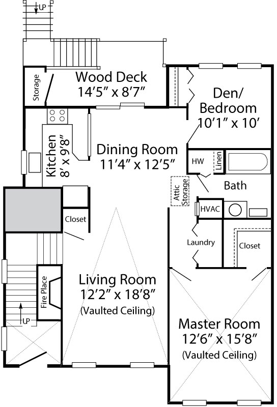 1 Bedroom/Den Dunmore - 2nd Floor