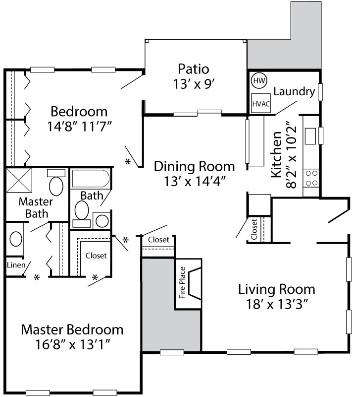 Essington floor plan with 2-bedrooms and 2-bath apartment in Reading, PA at Exeter Village