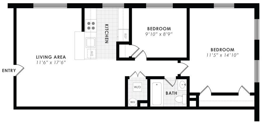 Gail Court Apartments 2 Bedroom/1 Bath Apartment D