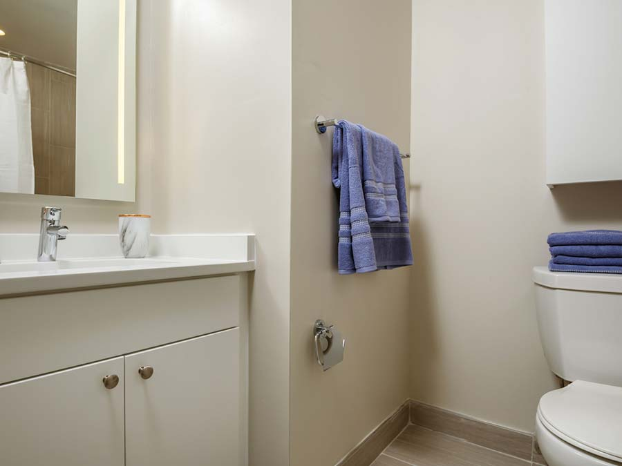 spacious bathroom in neutral colors at the townhouses of Buckingham Place in Newark DE