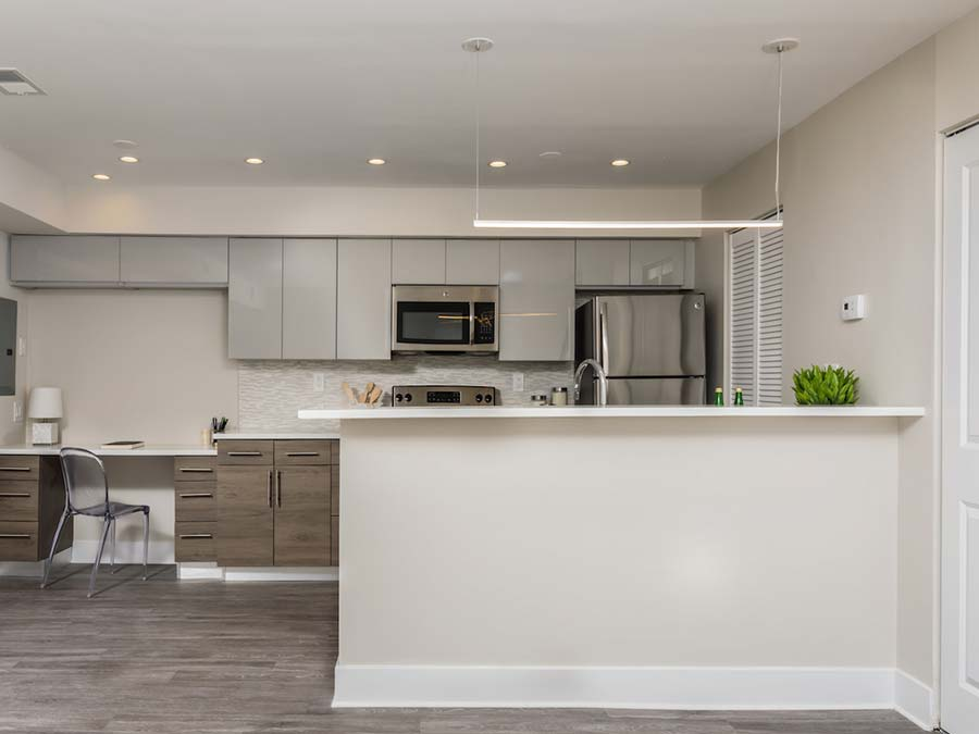 updated kitchen with ample cabinet space and stainless steel appliances at Buckingham Place townhomes in Newark DE