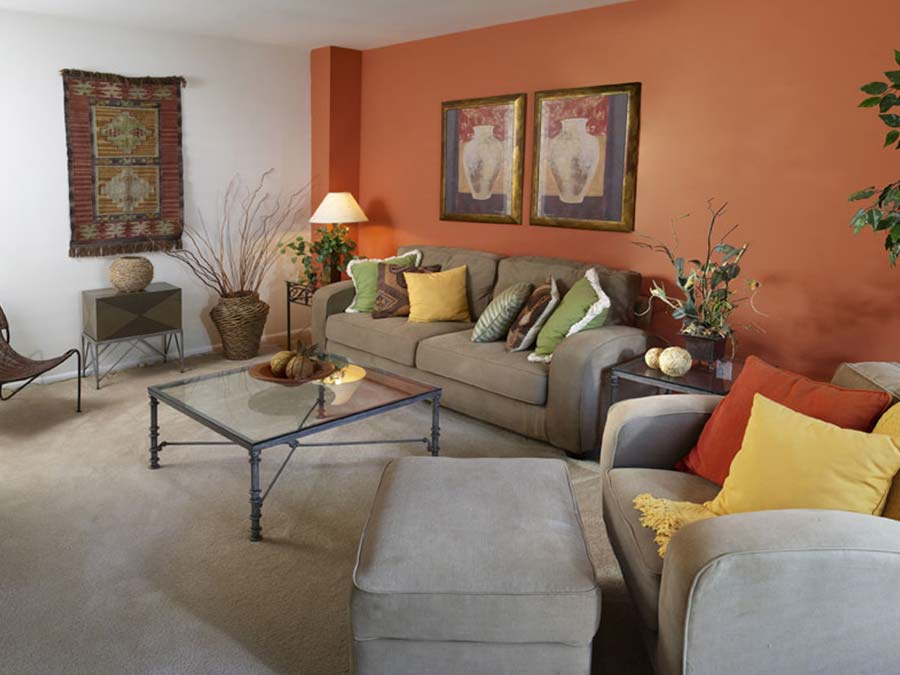 a living room with wall-to-wall carpet in Newark DE at Buckingham Place townhomes