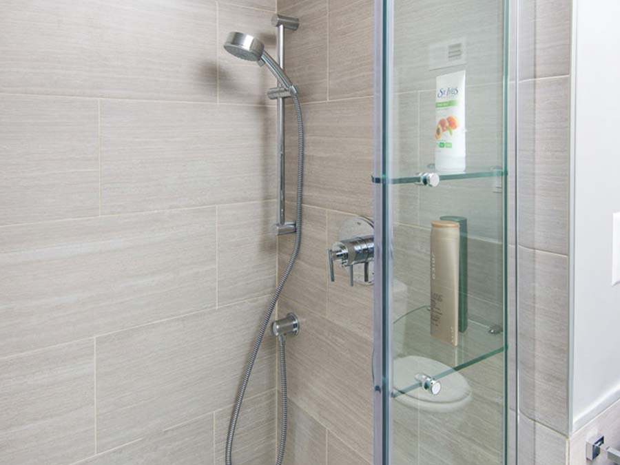 updated bathroom shower at Chestnut Terrace apartments
