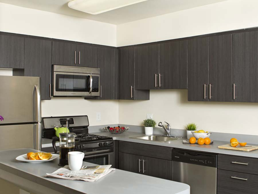 kitchen with breakfast bar and lots of cabinet space at Chestnut Terrace apartments in Mt Airy Philadelphia