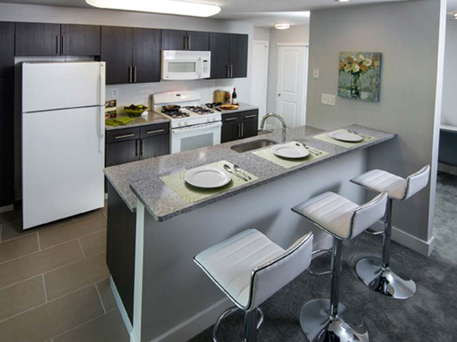 apartment in Newark DE with an open concept kitchen and breakfast bar for three