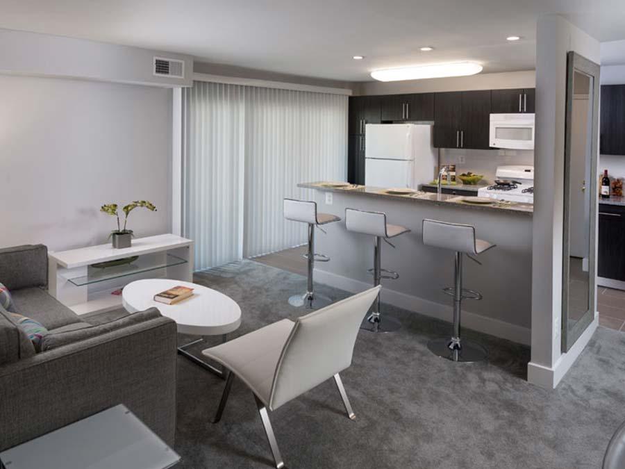 open concept Newark DE apartment living room and breakfast bar