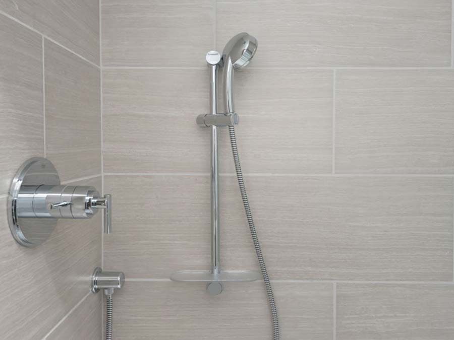 new bathroom shower fixtures in a Donna Court apartment in Philadelphia