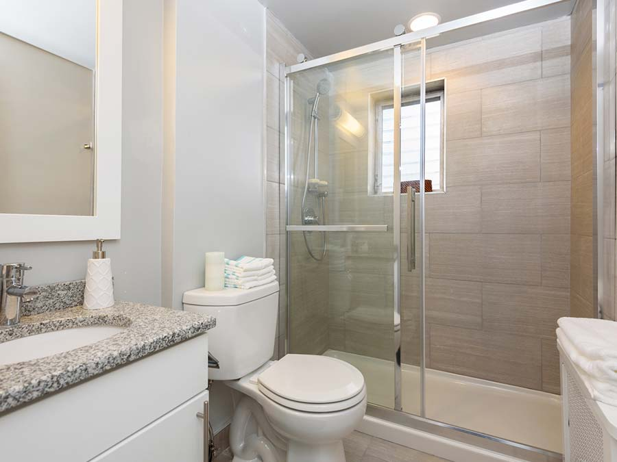 DuPont Towers bathroom shows with glass doors