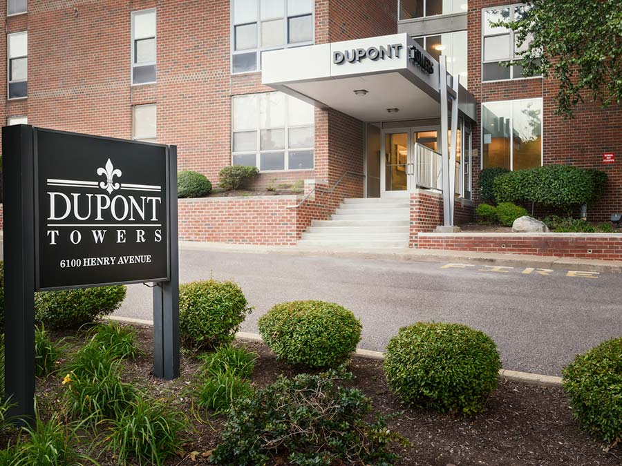 DuPont Towers exterior of property with sign